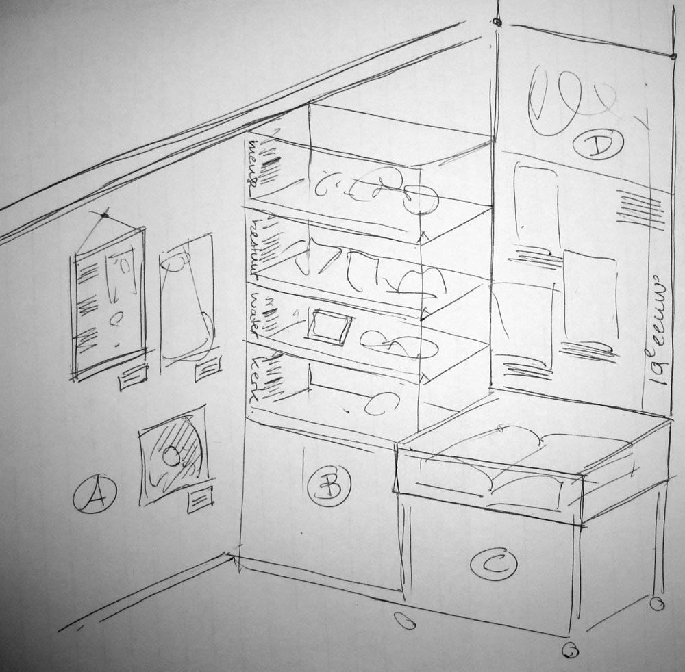 schets_opstelling_vitrines-infobord-voorwerpenwand_zw